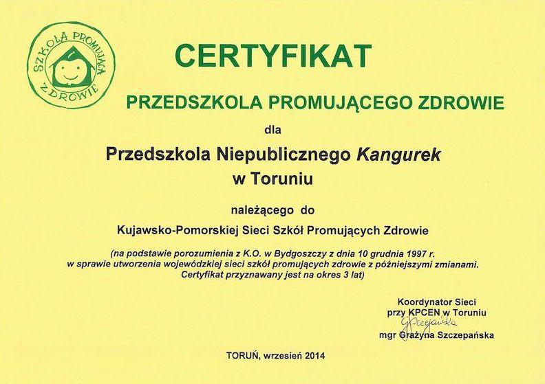 Certyfikat Przedszkola Promującego Zdrowie